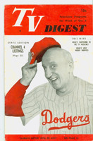 1951 TV Digest October 6 Jimmy Durante (in Dodgers uniform) (40 pgs) Pennsylvania State edition Very Good  [Wear on cover; contents fine, label stamped on reverse]