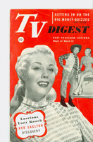 1952 TV Digest March 15 Lucy Knoch (40 pgs) Pennsylvania State edition Very Good  [Wear and creasing on cover; contents fine, label stamped on reverse]