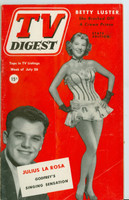 1952 TV Digest July 26 Julius La Rosa (40 pgs) Pennsylvania State edition Very Good  [Lt vert crease on cover, contents fine; label stamped on reverse]