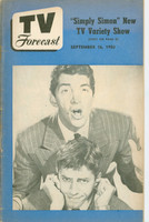 1950 TV Forecast September 16 Dean Martin and Jerry Lewis (32 pgs) Chicago edition Very Good