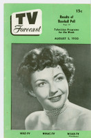1950 TV Forecast Aug 5 Lynn Bari (16 pages) New England edition Very Good to Excellent  [Lt vertical crease, sl wear on cover; contents fine]