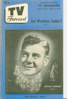 1951 TV Forecast April 28 Arthur Godfrey (40 pgs) Chicago edition Very Good - No Mailing Label