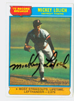 Mickey Lolich HL AUTOGRAPH 1976 Topps HR Leader #3 Tigers 