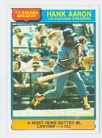 1976 Topps Baseball 1 Hank Aaron HL Milwaukee Brewers Excellent