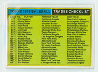 1976 Topps Baseball T Traded Checklist Excellent to Mint