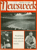 Newsweek Oct 10, 1938 World Series Yankees vs Cubs Very Good to Excellent [Lt vertical compact fold, library stamp, Wear on cover and binding; contents fine (46 pgs)]