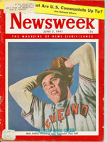 Newsweek June 2, 1947 Bob Feller of the Cleveland Indians Very Good [Heavy wear along binding, wear on cover, library stamp; contents fine (94 pgs)]