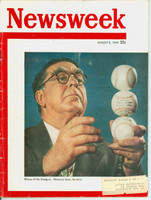 Newsweek August 8, 1949 Branch Rickey of the Brooklyn Dodgers Very Good to Excellent [Wear and creasing on cover, lt wear along binding, sl fraying on reverse cover; contents fine (74 pgs)]