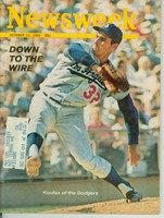 Newsweek Oct 11, 1965 Sandy Koufax of the Los Angeles Dodgers - Down to the Wire Excellent to Mint [Lt wear from handling ow very clean example, contents fine (118 pgs)]