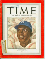 Time Magazine September 22, 1947 Jackie Robinson of the Brooklyn Dodgers Very Good [His Rookie Season - Historic Magaine; Library stamp, wear at the staples and along binding, lt scuffing on cover; great image of Jackie (114 pgs)]