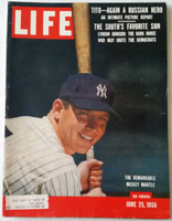 Life Magazine Mickey Mantle (First Cover) of the New York Yankees June 25, 1956 Excellent [Very lt scuffing along binding, ow very clean, great color image of the Mick (124 pgs)]