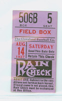 Vintage 1937 Ticket Stub Cleveland Indians vs White Sox August 14 1937