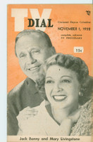 1952 TV Dial Nov 1 Jack Benny and Mary Livingstone (32 pages) Cincinnati-Dayton edition Very Good  [Wear, lt staining and creasing on cover; contents fine]