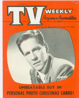 1954 TV Weekly Dec 13 Hugh Marlowe (20 pages) Salt Lake City edition Excellent - No Mailing Label  [Front cover near-mint, reverse cover has lt staining; contents fine]