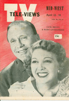 1952 TV Televiews April 12 Jack Benny and Mary Livingstone (32 pg) Midwest edition Very Good to Excellent  [Lt moisture stain on cover, contents fine]