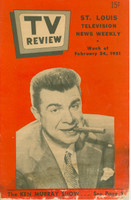 1951 TV Review February 24 Ken Murray (16 pg) St. Louis edition Fair to Good - No Mailing Label  [Heavy staining from moisture throughout bottom 1/3 of book; listings fine]
