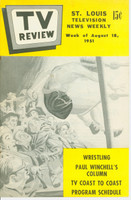 1951 TV Review August 18 Wrestling (24 pg) St. Louis edition Excellent - No Mailing Label  [Very clean example]