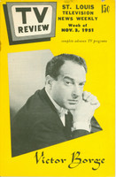 1951 TV Review November 3 Victor Borge (24 pg) St. Louis edition Very Good to Excellent - No Mailing Label  [Lt wear on cover, staple rust]