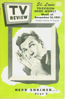 1951 TV Review December 15 Herb Shriner (24 pg) St. Louis edition Very Good to Excellent - No Mailing Label  [Lt wear on cover, staple rust]