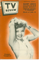 1952 TV Review January 12 Francis Langford (24 pgs) St. Louis edition Good to Very Good - No Mailing Label  [Heavy wear along top of binding, listings fine]