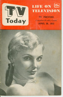 1952 TV TODAY April 26 Roxanne of Beat the Clock (32 pg) Detroit edition Fair to Good - No Mailing Label  [Front cover completely DETACHED; contents fine]
