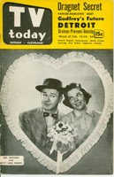 1954 TV TODAY February 12 Red Buttons - Valentine's Day Cover (32 pg) Detroit edition Very Good - No Mailing Label  [Cover creasing, contents fine]