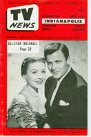 1956 TV News July 6 Anne Jeffreys & Robert Sterling Indiana edition Very Good to Excellent  [Heavy creasing and lt staining on cover; contents fine]