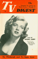 1952 TV DIGEST June 7 Rosemary Clooney (32 pgs) Pittsburgh edition Very Good to Excellent - No Mailing Label  [Lt wear and small stain on cover; stray WRT on reverse cover]
