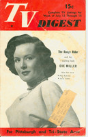 1952 TV DIGEST July 12 Eve Miller (32 pgs) Pittsburgh edition Fair to Good  [Heavy wear, tears and repair tape on cover; contents okay]