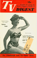 1952 TV DIGEST August 9 Barbara Logan (32 pgs) Pittsburgh edition Very Good  [Wear on cover, contents fine]