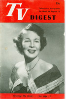 1950 TV DIGEST August 12 Wendy Barrie (24 pgs) Philadelphia edition Very Good to Excellent  [Lt wear and creasing on cover; contents fine]