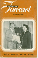 1949 TV FORECAST February 19 Rush Hughes and Ruth Crowley (16 pg) Chicago edition Very Good  [Heavy toning, lt soiling on cover, wear on binding; contents fine]