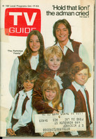 1970 TV Guide Oct 17 Partridge Family (First Cover) Wisconson edition Good to Very Good  [Tape along binding, wear on cover, moisture on back cover; contents fine]