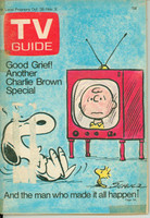 1972 TV Guide Oct 28 Charlie Brown and Peanuts Special Eastern Illinois edition Good to Very Good  [Tape placed along binding; lt wear on cover, label removed]