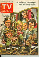 1974 TV Guide Feb 9 Cast of MASH (Cover by Jack Davis) Cleveland edition Very Good to Excellent - No Mailing Label  [Sl loose at staples, wear on cover; contents fine]