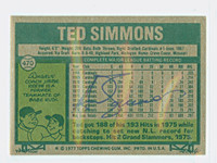 Ted Simmons 1977 Topps #470 Cardinals Back Signed 