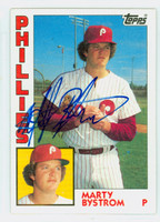 Marty Bystrom AUTOGRAPH 1984 Topps #511 Phillies 