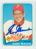 Gene Mauch AUTOGRAPH d.05 1965 Topps #489 Phillies SEMI HIGH NUMBER CARD IS CLEAN VG; LT SURFACE WEAR