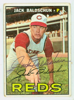 Jack Baldschun AUTOGRAPH 1967 Topps #114 Reds CARD IS F/G; CREASES, AUTO CLEAN