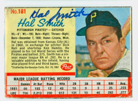 Hal W. Smith AUTOGRAPH 1962 Post #181 Pirates CARD IS POOR