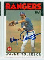 Wayne Tolleson AUTOGRAPH 1986 Topps #641 Rangers 