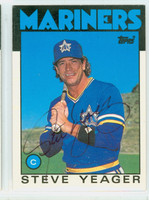 Steve Yeager AUTOGRAPH 1986 Topps #130T TRADED Mariners 