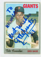 Tito Fuentes AUTOGRAPH 1970 Topps #42 Giants 