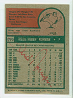 Fred Norman 1975 Topps #396 Reds Back Signed  [SKU:]