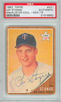 Lee Stange AUTOGRAPH 1962 Topps #321 Twins PSA/DNA 