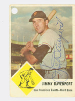 Jimmy Davenport AUTOGRAPH d.16 1963 Fleer Giants CARD HAS HOLE PUNCH; AUTO CLEAN