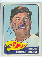 Herman Franks AUTOGRAPH d.09 1965 Topps #32 Giants 