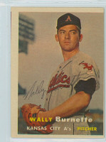 Wally Burnette AUTOGRAPH d.03 1957 Topps #13 Athletics 