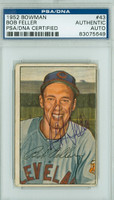 Bob Feller AUTOGRAPH d.10 1952 Bowman #43 Indians PSA/DNA CARD IS G/VG; CRN CREASES; AUTO VERY CLEAN