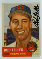 Bob Feller AUTOGRAPH d.10 1953 Topps #54 Indians Lot CARD IS CLEAN EX